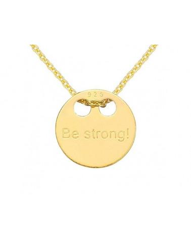 Złoty naszyjnik z pełną karmą Be strong!
