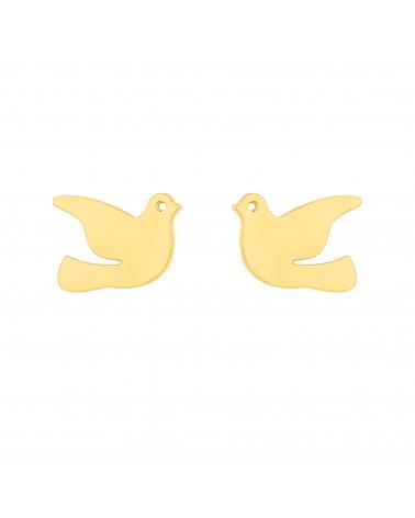 Złote kolczyki gołębie