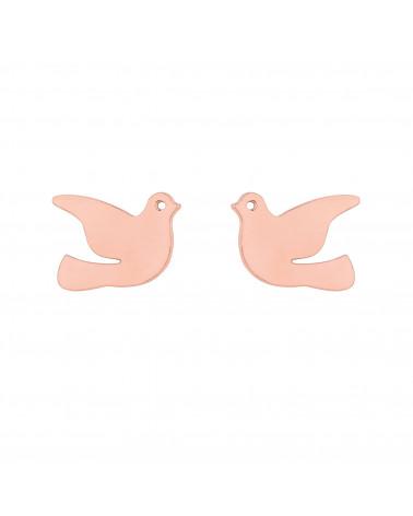 Kolczyki z różowego złota gołębie