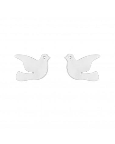 Srebrne kolczyki gołębie
