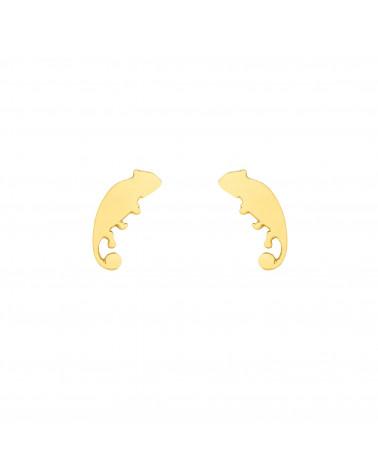 Złote kolczyki kameleony