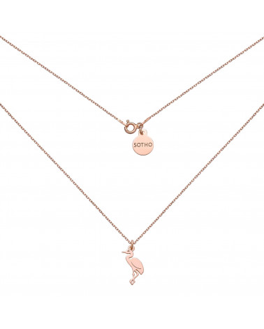 Naszyjnik z różowego złota z żurawiem