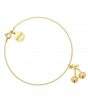 Złota bransoletka z wisienkami