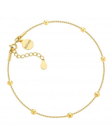 Złota bransoletka na nogę z kuleczkami