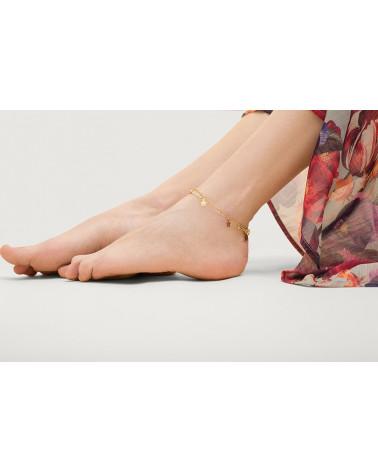 Bransoletka z różowego złota na nogę z kuleczkami