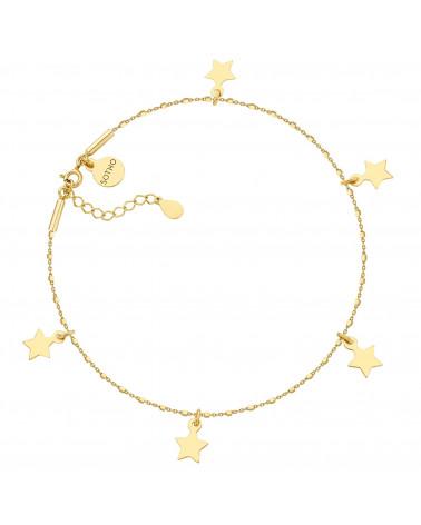 Złota bransoletka na nogę z gwiazdkami