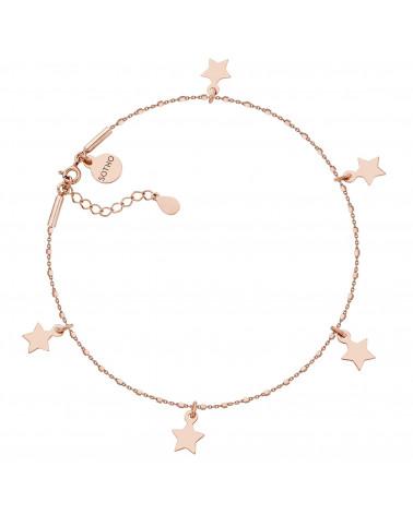 Bransoletka z różowego złota na nogę z gwiazdkami