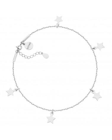 Srebrna bransoletka na nogę z gwiazdkami
