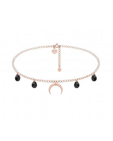 Choker z różowego złota z księżycem i czarnymi kryształami SWAROVSKI® CRYSTAL
