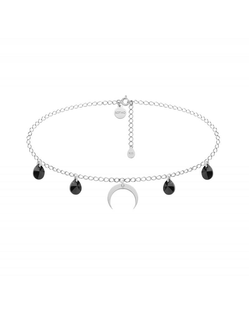 Srebrny choker z księżycem i czarnymi kryształami SWAROVSKI® CRYSTAL