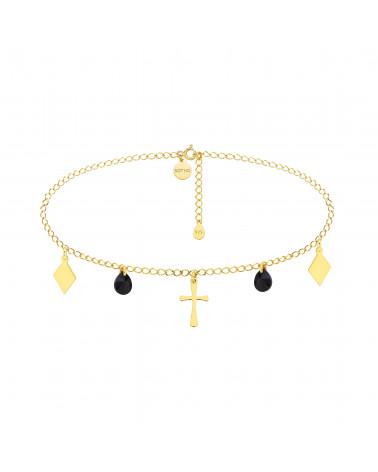 Złoty choker z krzyżem, rombami i czarnymi kryształami SWAROVSKI® CRYSTAL