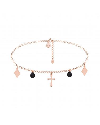 Choker z różowego złota z krzyżem, rombami i czarnymi kryształami SWAROVSKI® CRYSTAL
