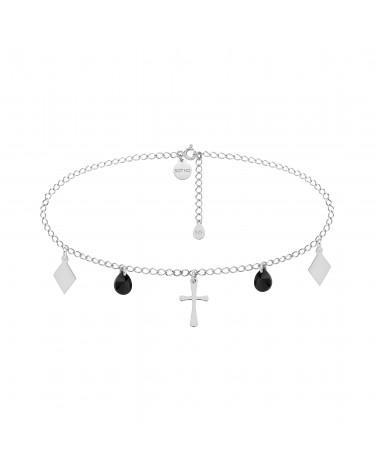 Srebrny choker z krzyżem, rombami i czarnymi kryształami SWAROVSKI® CRYSTAL