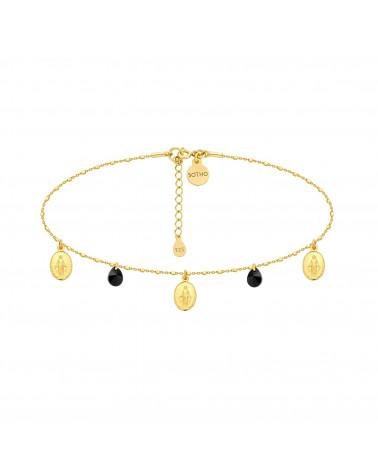 Złoty choker z medalikami i czarnymi kryształami SWAROVSKI® CRYSTAL