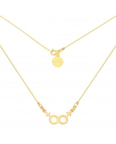 Złoty naszyjnik z symbolem żeńskim i męskim