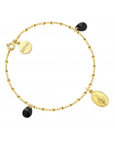 Złota bransoletka z medalikiem i czarnymi kryształami SWAROVSKI® CRYSTAL