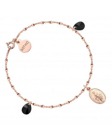 Bransoletka z różowego złota z medalikiem i czarnymi kryształami SWAROVSKI® CRYSTAL