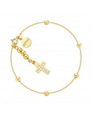 Złota bransoletka z kuleczkami i krzyżykiem z kryształami SWAROVSKI® CRYSTAL