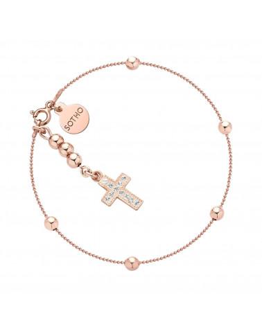 Bransoletka z różowego złota kuleczkami i krzyżykiem z kryształami SWAROVSKI® CRYSTAL