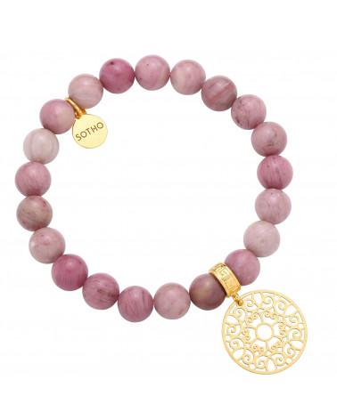 Różowa bransoletka z rodonitu ze złotą rozetką