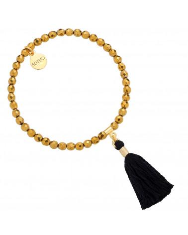 Złota bransoletka z fasetowanego hematytu z chwostem