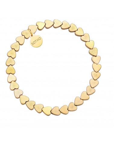 Złota bransoletka z serduszek z hematytu