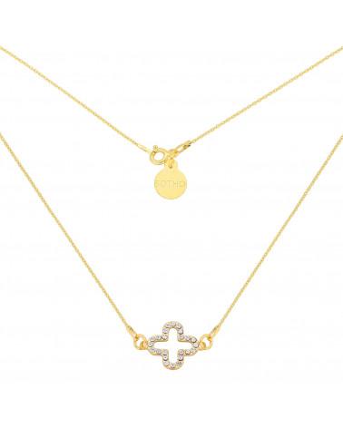 Złoty naszyjnik z rozetką wysadzaną kryształami SWAROVSKI® CRYSTAL