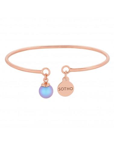 Bransoletka z różowego złota z niebieską perłą