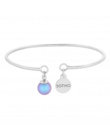 Srebrna bransoletka z niebieską perłą