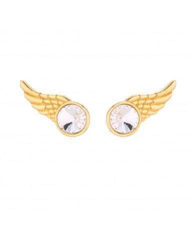 Złote kolczyki skrzydełka z kryształkiem SWAROVSKI® CRYSTAL