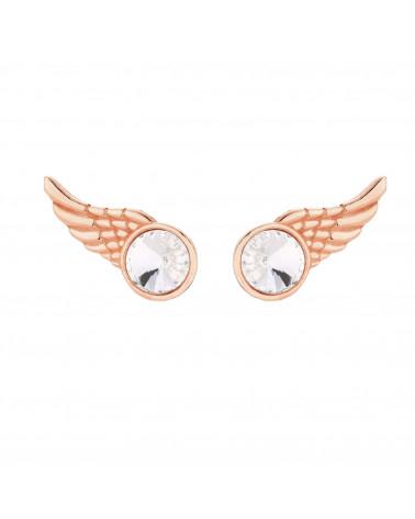 Kolczyki z różowego złota skrzydełka z kryształkiem SWAROVSKI® CRYSTAL