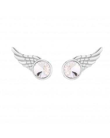 Srebrne kolczyki skrzydełka z kryształkiem SWAROVSKI® CRYSTAL