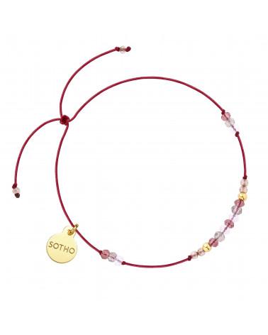 Bordowa sznurkowa bransoletka z kwarcem i cyrkoniami