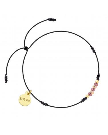 Czarna sznurkowa bransoletka z spinelem i cyrkoniami