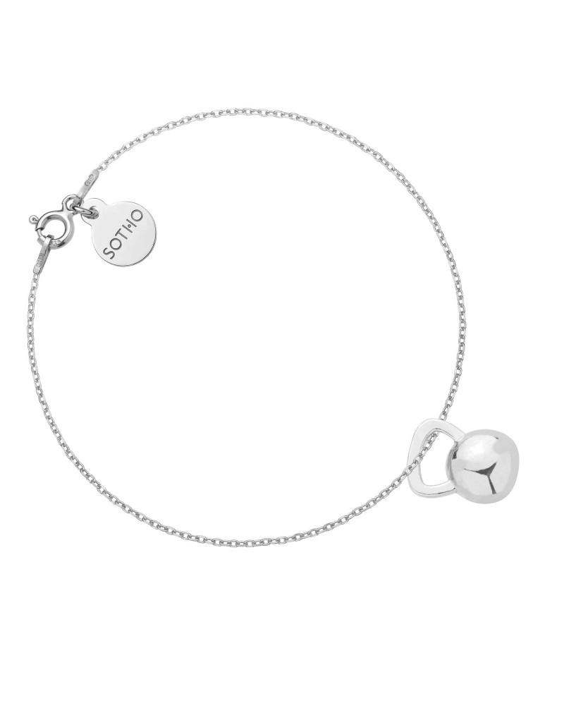 Srebrna bransoletka z kettlebell