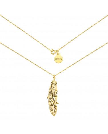 Złoty naszyjnik z liściem