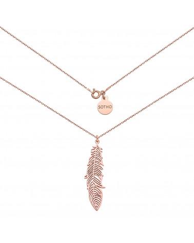 Naszyjnik z różowego złota z liściem