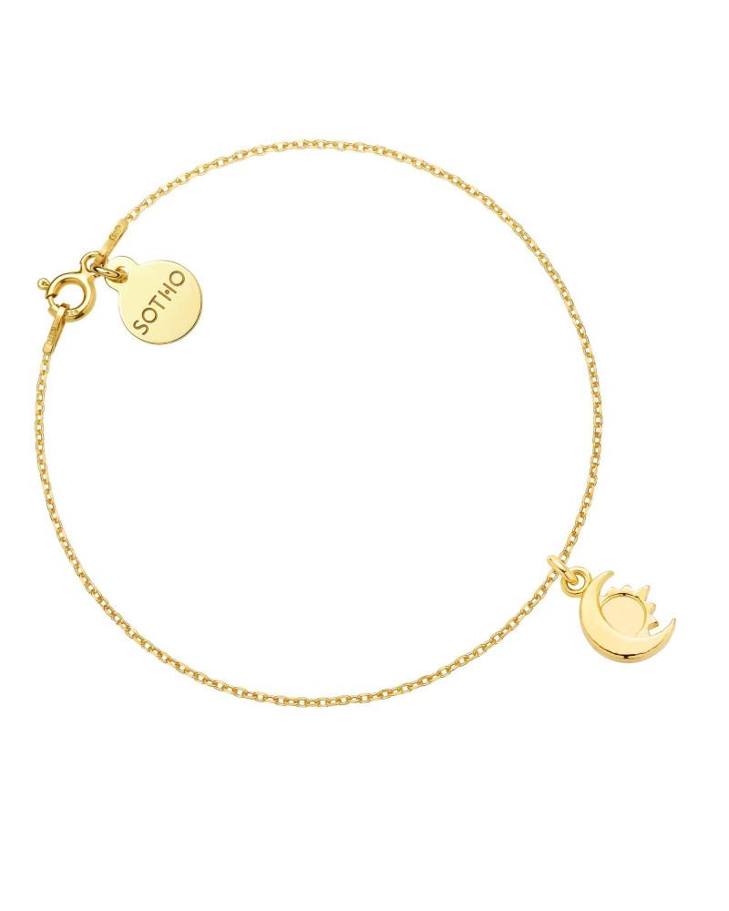 Złota bransoletka z księżycem i słońcem