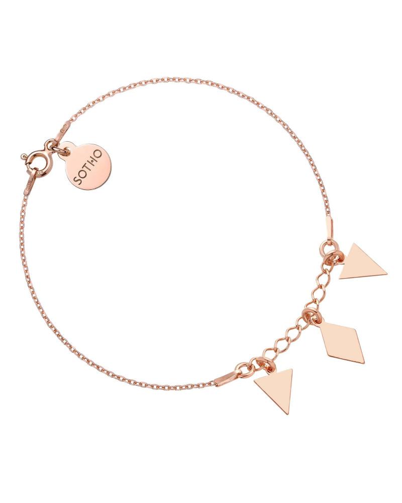 Bransoletka z różowego złota z trójkątami i rombem