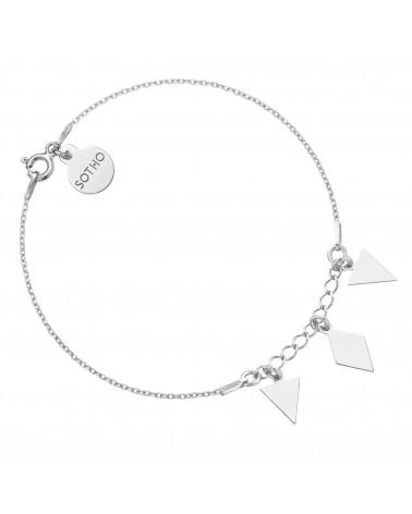 Srebrna bransoletka z trójkątami i rombem