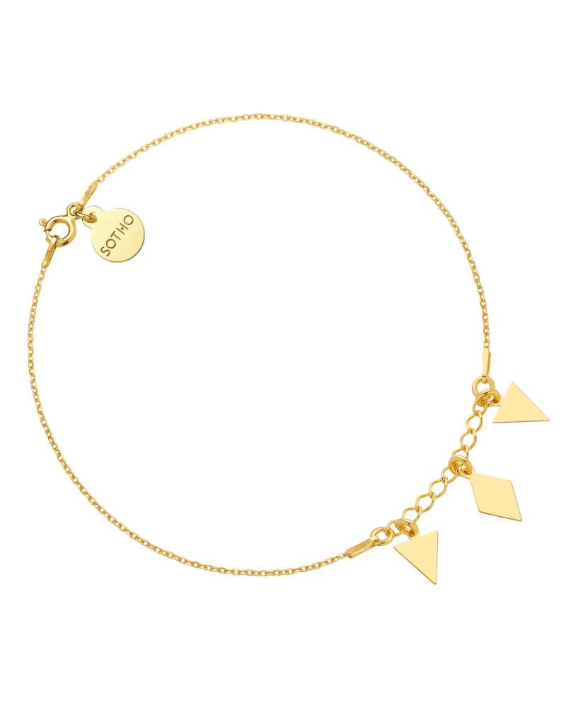 Złota bransoletka na nogę z trójkątami i rombem