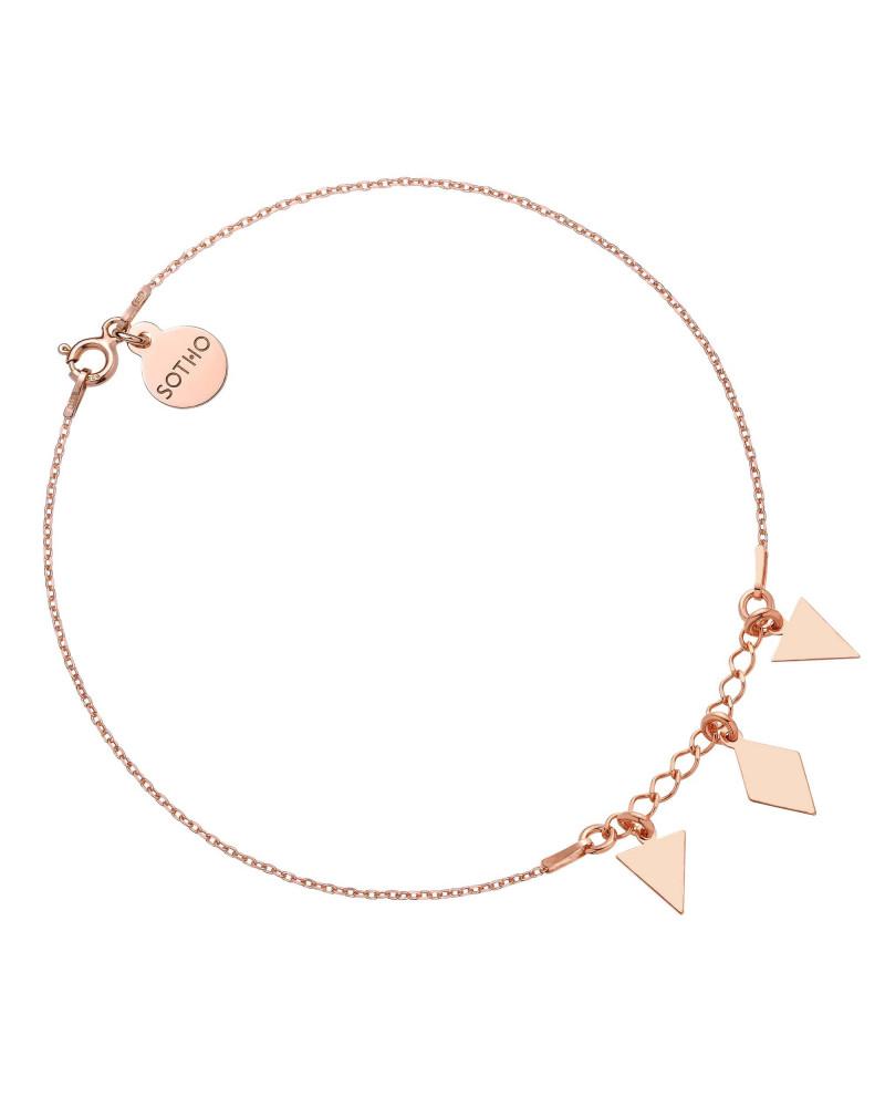 Bransoletka z różowego złota na nogę z trójkątami i rombem