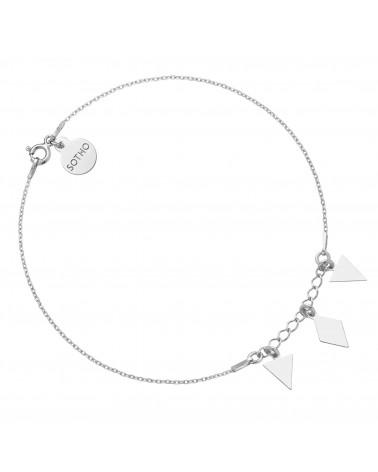 Srebrna bransoletka na nogę z trójkątami i rombem