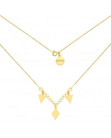 Złoty naszyjnik z trójkątami i rombem