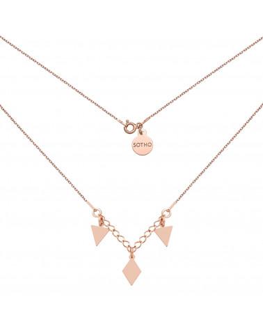 Naszyjnik z różowego złota z trójkątami i rombem