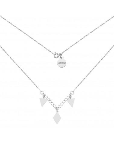 Srebrny naszyjnik z trójkątami i rombem