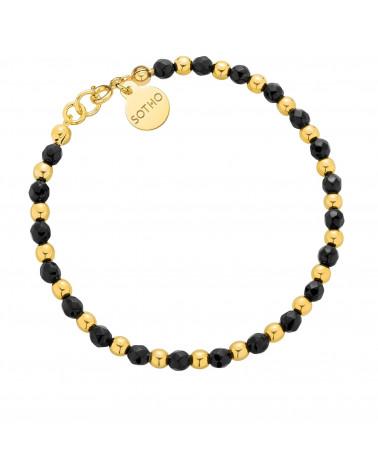 Złota bransoletka z fasetowanego onyksu i złotych kuleczek