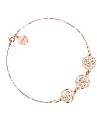 Bransoletka z różowego złota na nogę z rozetkami
