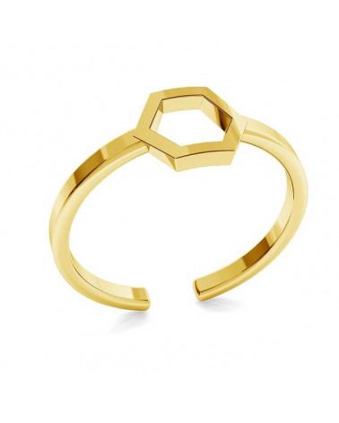 Złoty pierścionek z sześciokątem