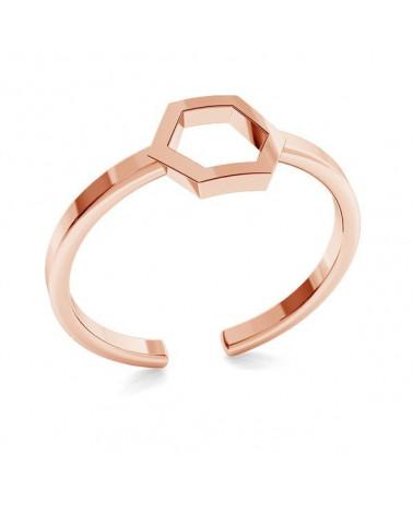 Pierścionek z różowego złota z sześciokątem